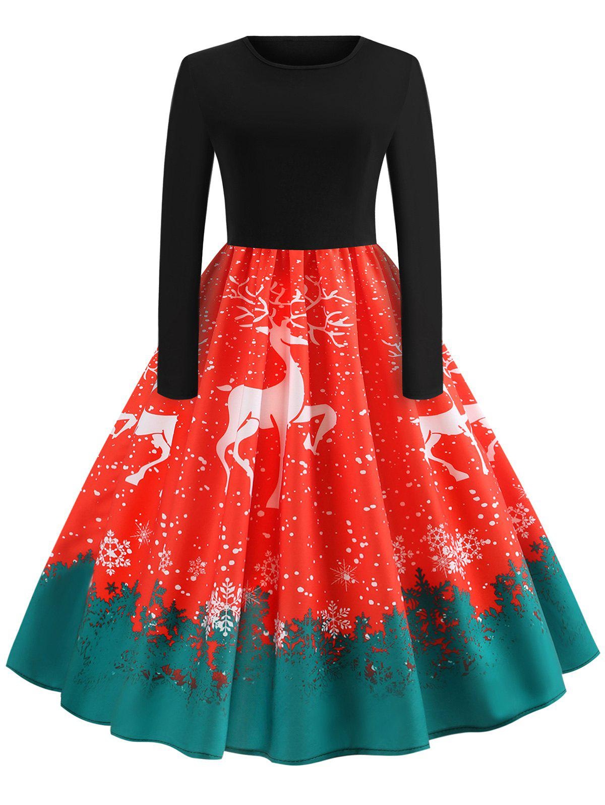 Vintage Elk Printed Christmas Dress - LAVA RED M