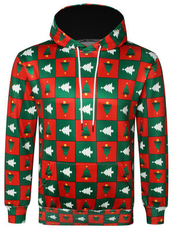 Christmas Tree Check Pattern Pullover Hoodie - LAVA RED XS