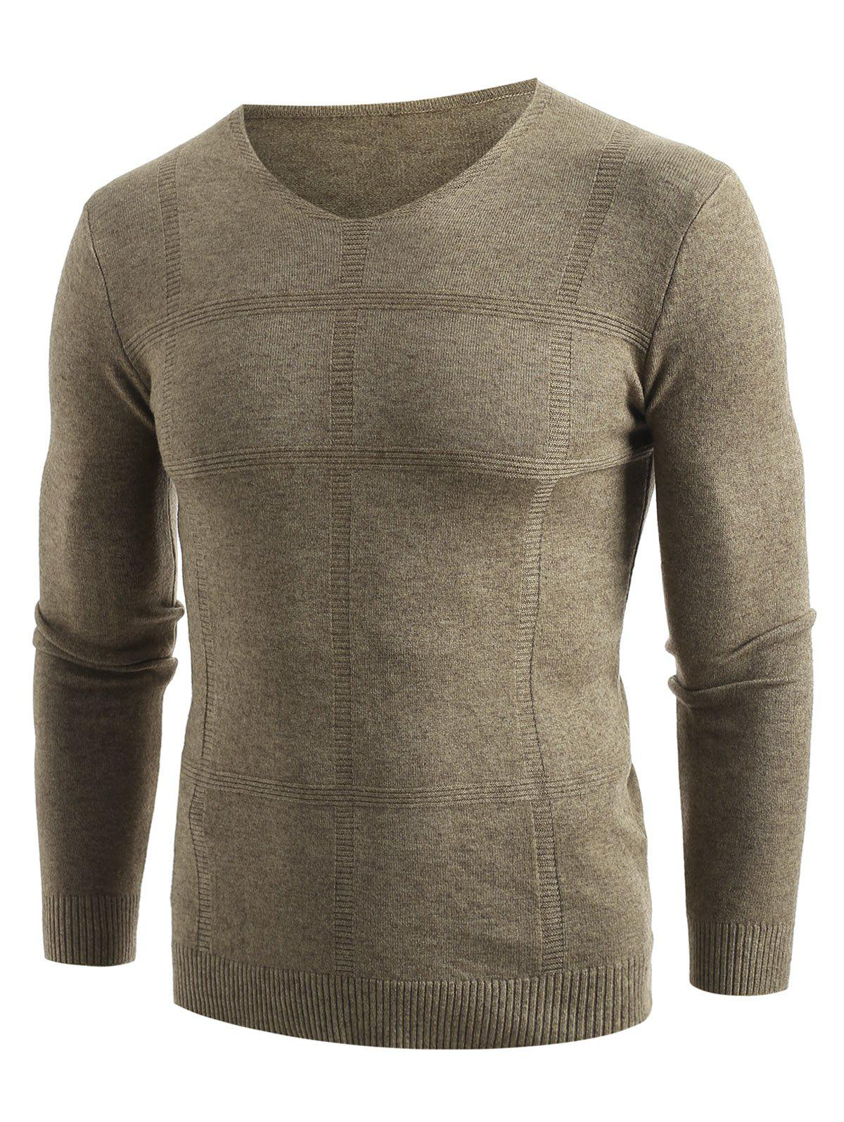 Solid V Neck Pullover Sweater - KHAKI XS