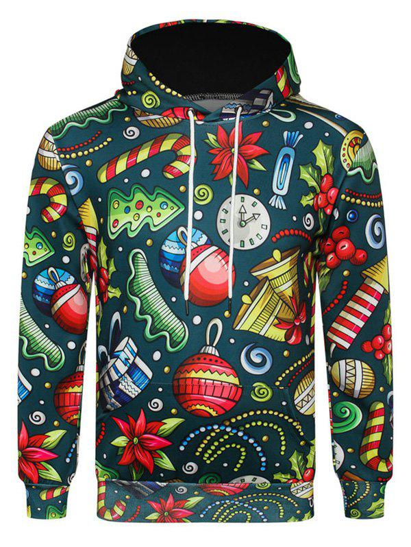 Candy Gift Printed Pocket Hoodie - GREENISH BLUE S