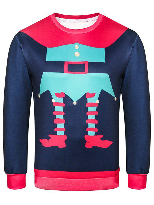 Character Printed Casual Pullover Sweatshirt - PEACOCK BLUE M