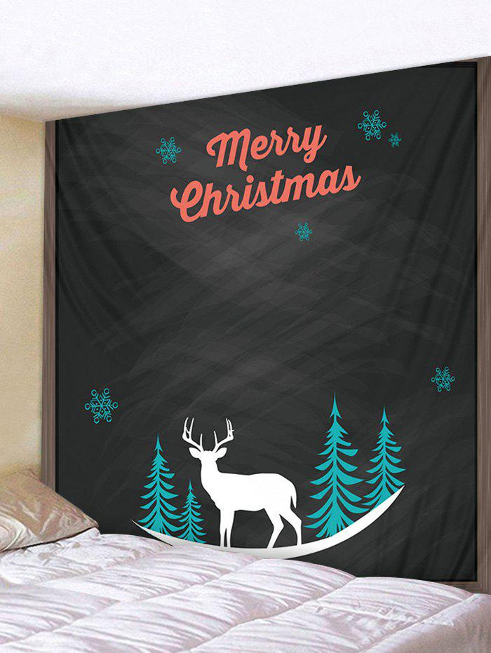 Merry Christmas Deer Printed Tapestry Art Decoration - multicolor W91 X L71 INCH