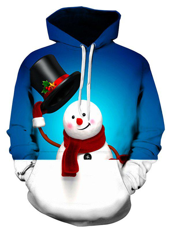 Cute Snowman Printed Kangaroo Pocket Hoodie - BLUEBERRY BLUE M