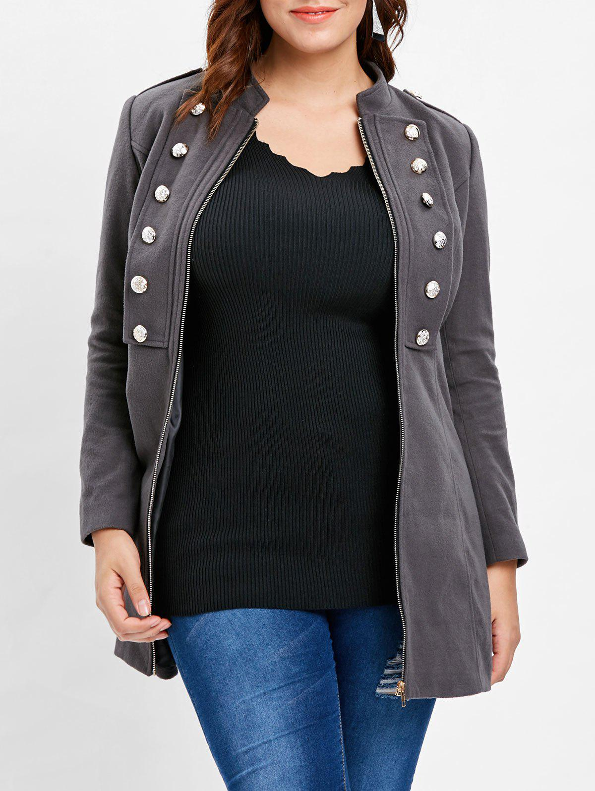 Plus Size Stand Collar Zip Coat - DARK GRAY L