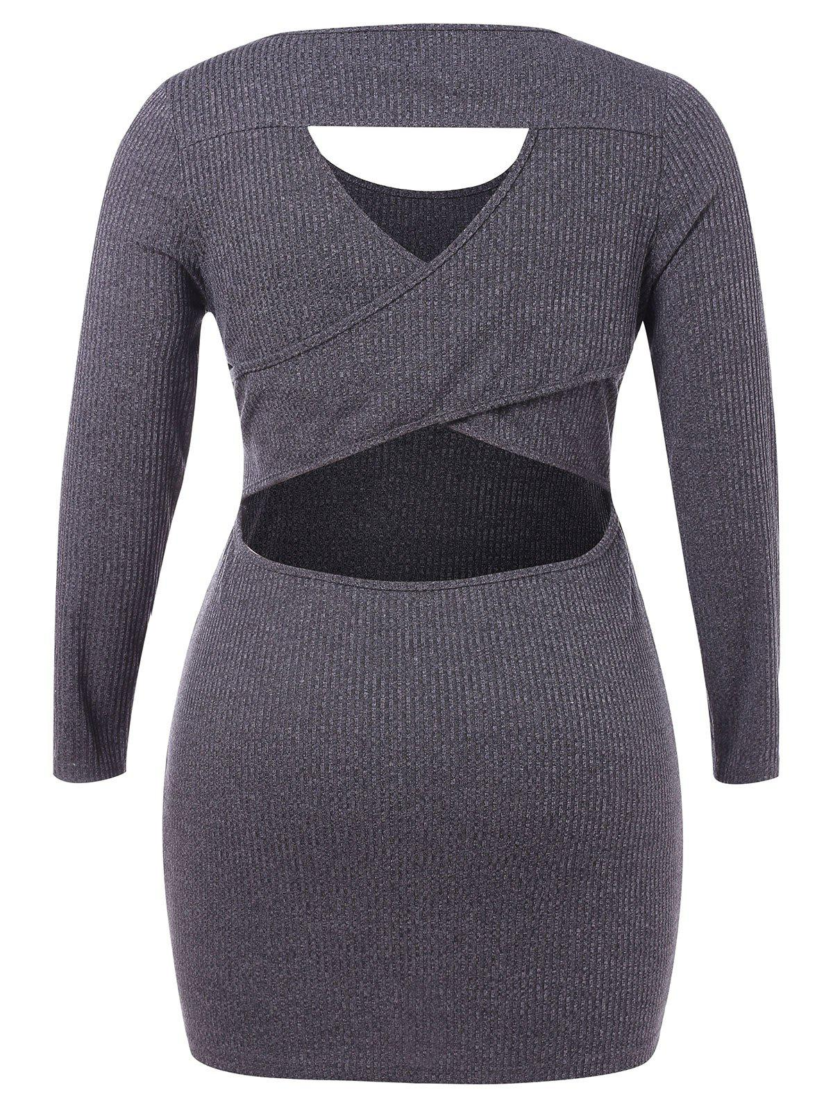 Plus Size Cut Out Criss Cross Bodycon Dress - CARBON GRAY L