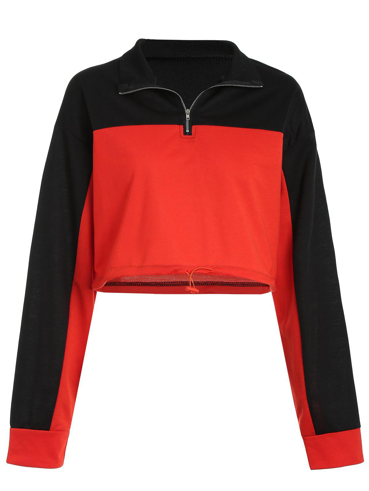 Short Contrast Sweatshirt with Half Zipper - multicolor M