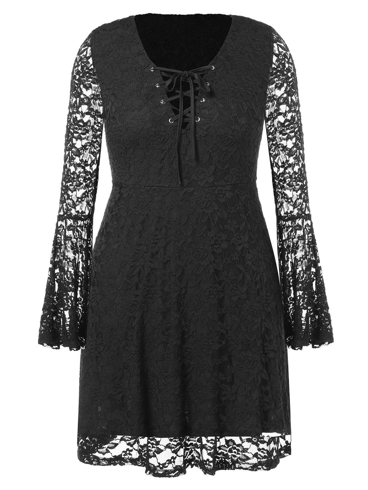 Plus Size Bell Sleeve Plunging Lace Dress