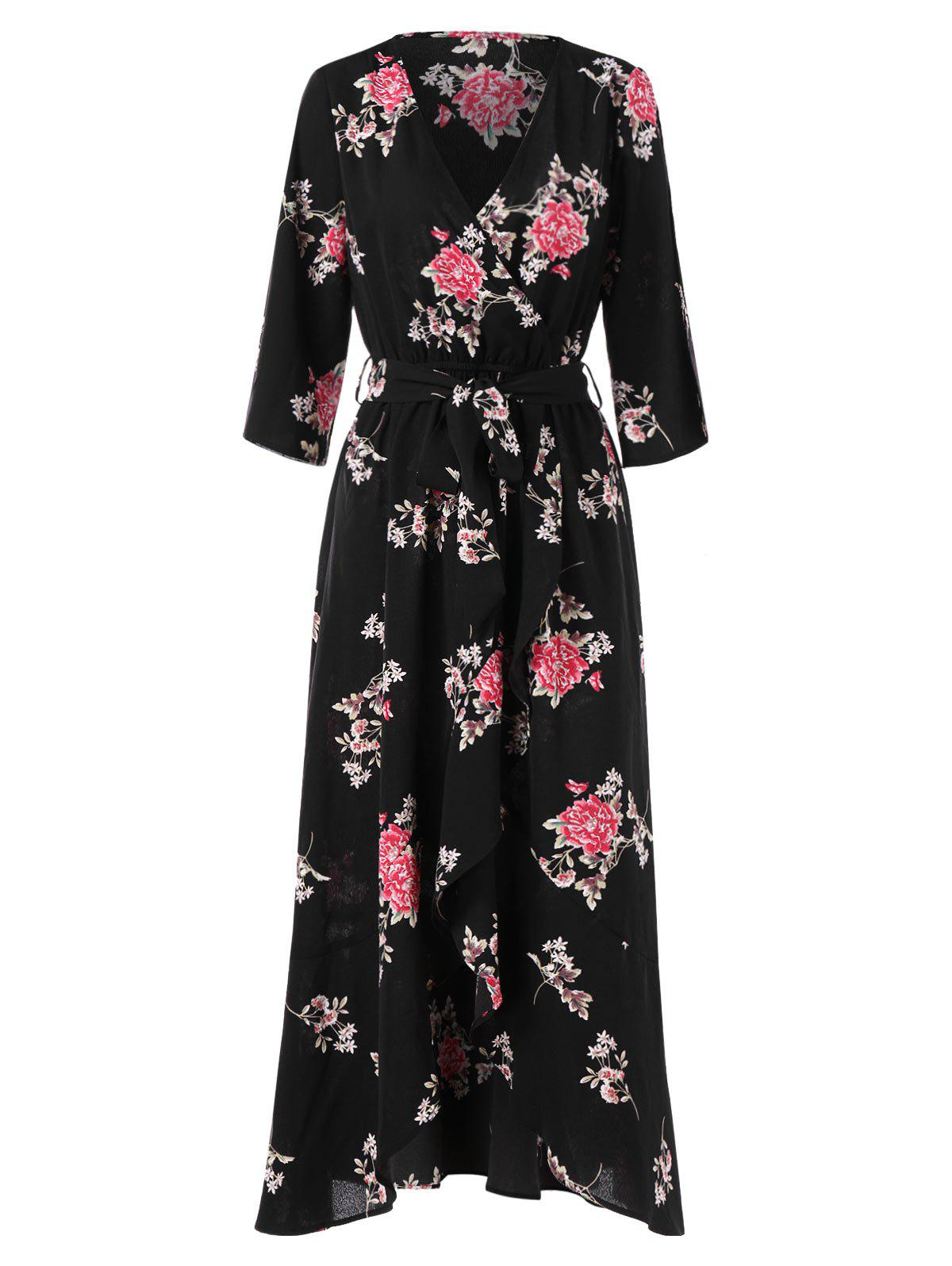 Floral Print Maxi Belted Surplice Dress - BLACK M