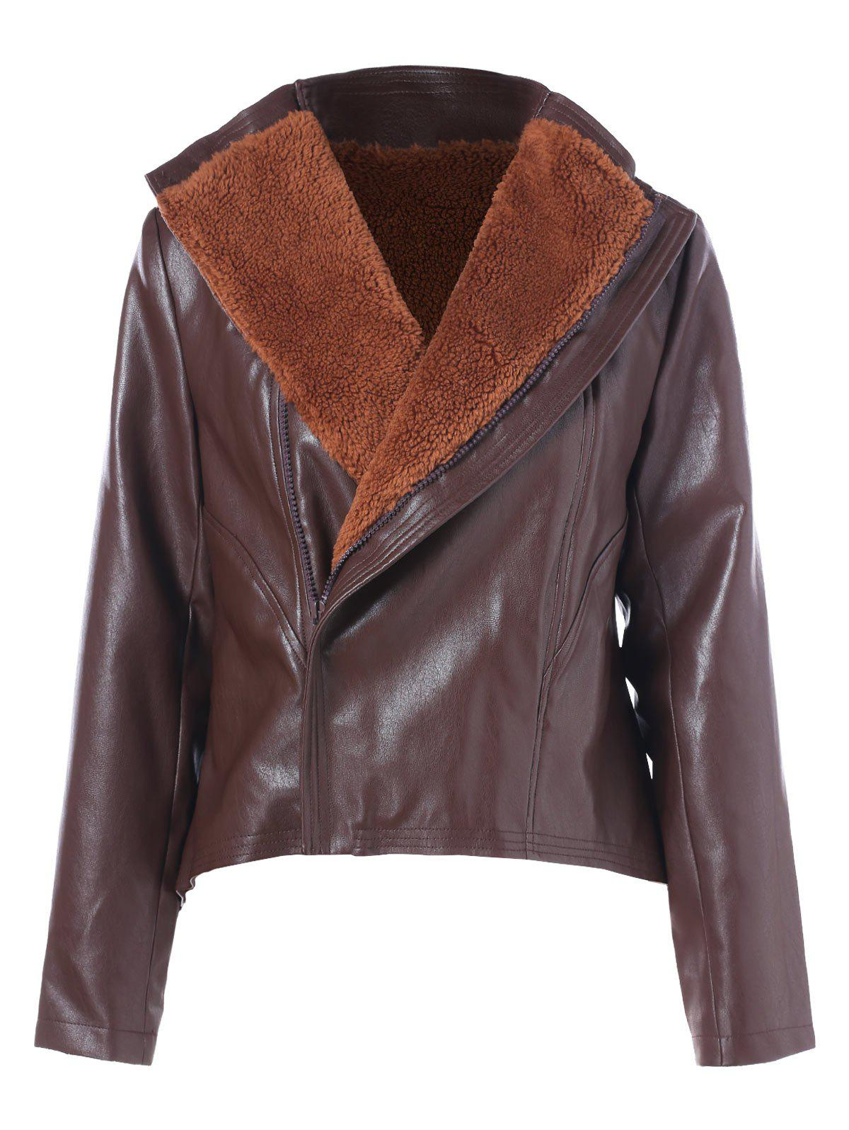 Faux Fur Panel PU Leather Jacket - PUCE M