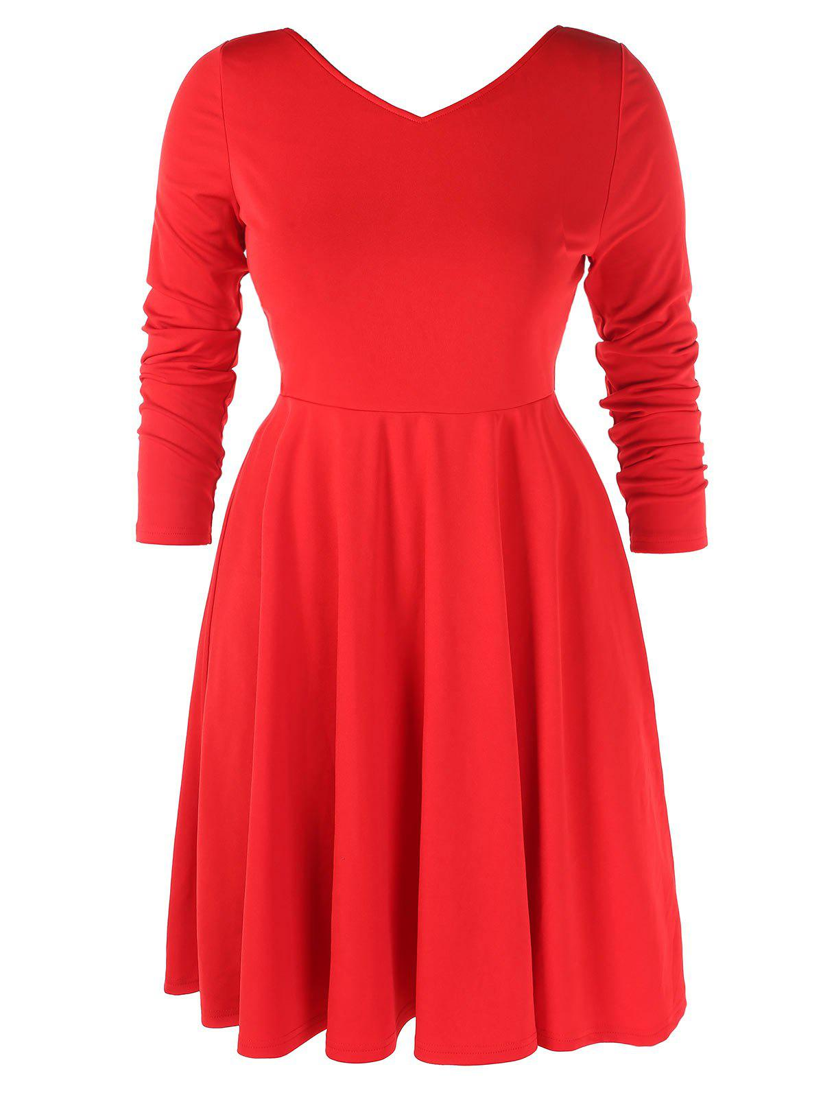 Plus Size Double V Neck High Waist Dress - RED L