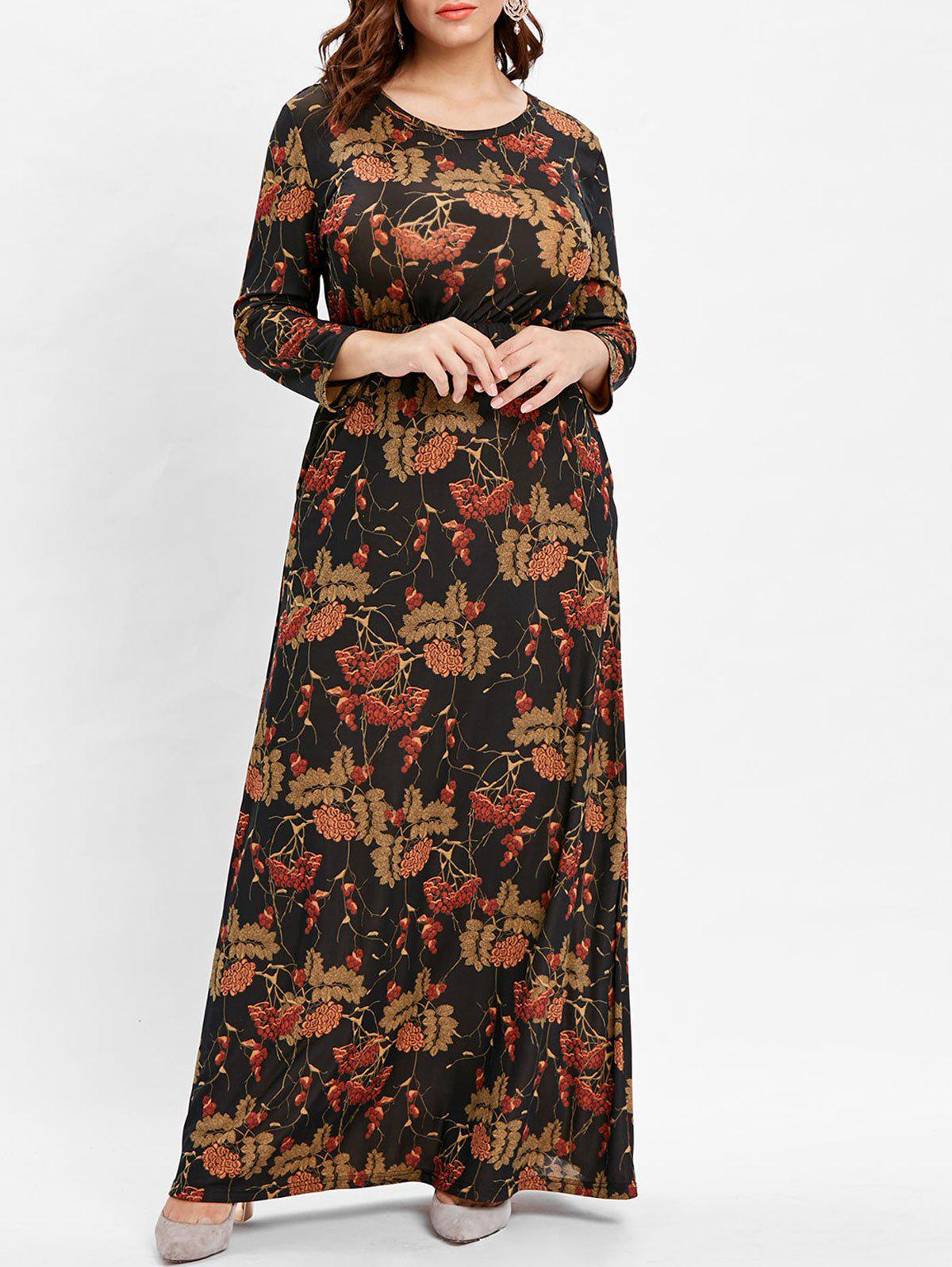 Plus Size Long Sleeve Printed Floor Length Dress - DEEP BROWN 1X