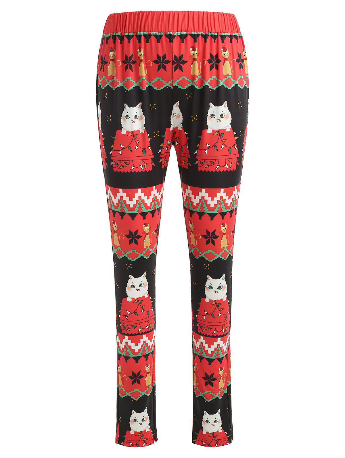 Christmas Cat Print Fitted Leggings