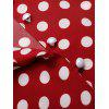 Polka Dot V Neck Tie Up Blouse - LAVA RED L