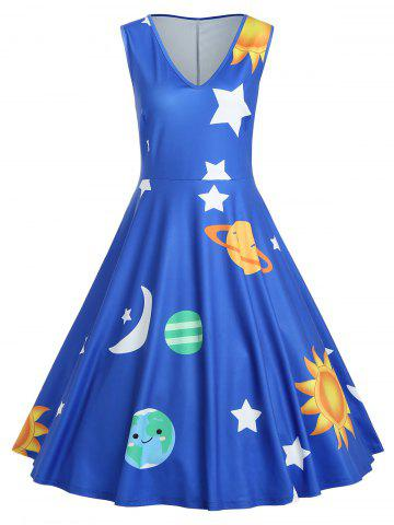 dac78f30502 Plus Size Sleeveless Outer Space Print Dress