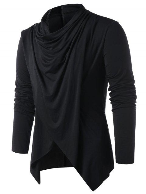 Convertible Asymmetrical Cardigan - BLACK 2XL