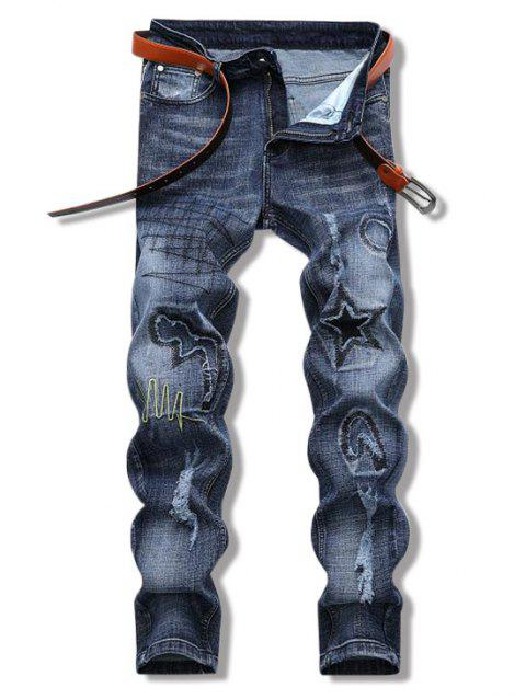 Star Patch Decorated Destroyed Jeans - DENIM BLUE 32