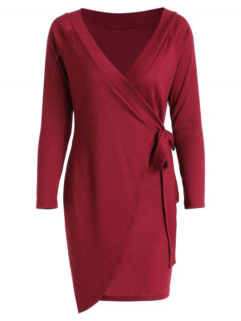 Ribbed Tie Side Off The Shoulder Dress - FIREBRICK L