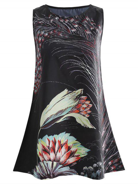 Sleeveless Flamingo Print Mini Dress - BLACK M