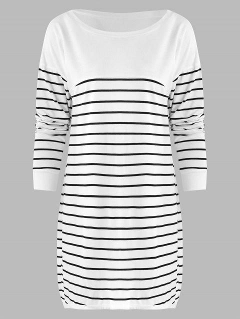 Striped Tunic Pullover T Shirt - WHITE M