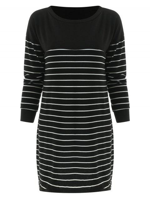 Striped Tunic Pullover T Shirt - BLACK M