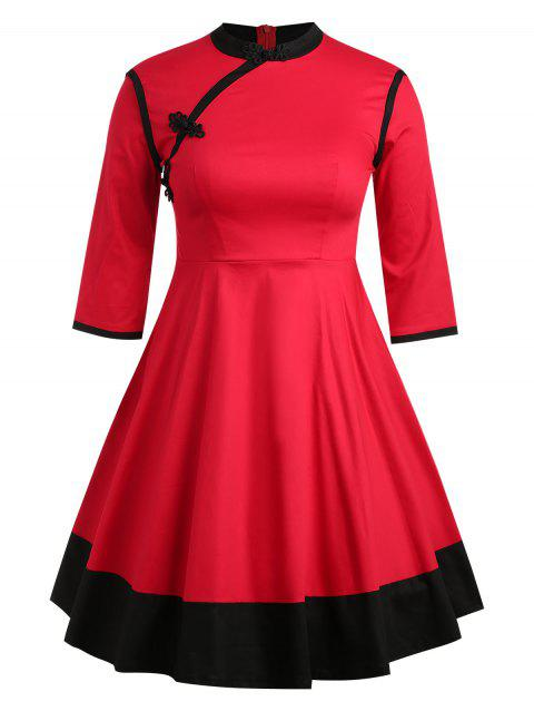 Plus Size Flared Color Block Dress - RED 1X