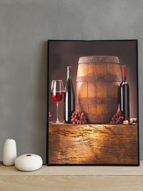 Red Wine and Wine Barrel Print Wall Hanging Paintings - multicolor 20*28 INCH