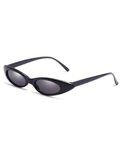 Anti UV Flat Lens Slim Catty Sunglasses - BLACK