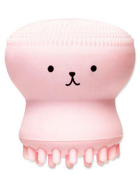 Cartoon Octopus Double Ended Silicone Facial Cleansing Brush - PINK