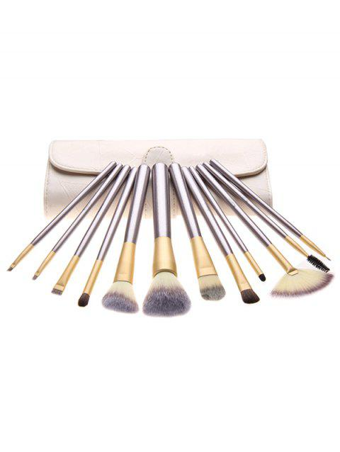 Cosmetic 12 Pcs Ultra Soft Travel Makeup Brush with Brush Bag - LIGHT KHAKI REGULAR