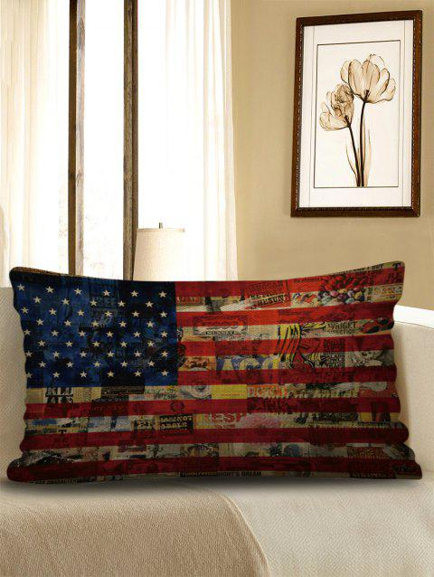 American Flag Print Decorative Sofa Linen Pillowcase - multicolor W12 X L20 INCH