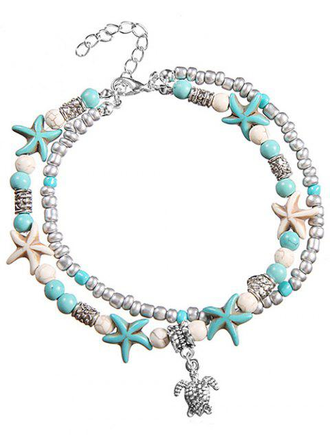 Beach Sea Star and Turtle Layered Chain Anklet - TRON BLUE