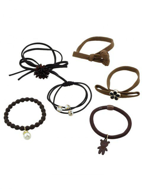 Flower Elastic Ponytail Holder Multiple Hair Ties Set - BROWN