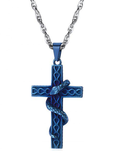 Statement Carved Snake Cross Punk Necklace - BLUE