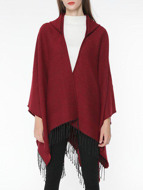 Vintage Solid Color Wrap Shawl Scarf - RED WINE