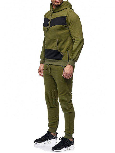 Zipper Embellished Patchwork Casual Activewear Suit - ARMY GREEN L