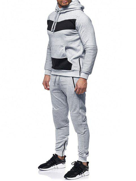 Zipper Embellished Patchwork Casual Activewear Suit - LIGHT GRAY M