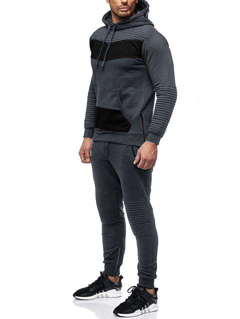 Zipper Embellished Patchwork Casual Activewear Suit - DARK GRAY M
