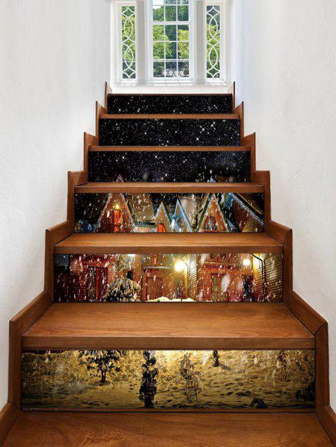 Christmas Snow Night Printed Removable Stair Stickers - multicolor 6PCS X 39 X 7 INCH( NO FRAME )