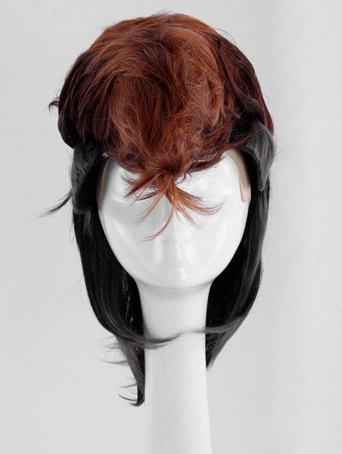 Short Straight Two Tone Cosplay Synthetic Wig for Men - multicolor