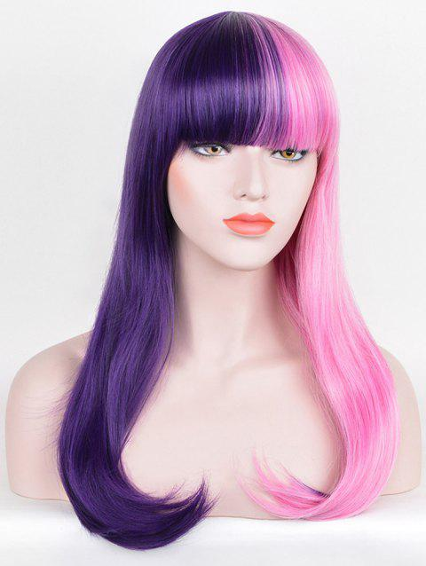 Long Full Bang Two Tone Straight Party Cosplay Synthetic Wig - multicolor