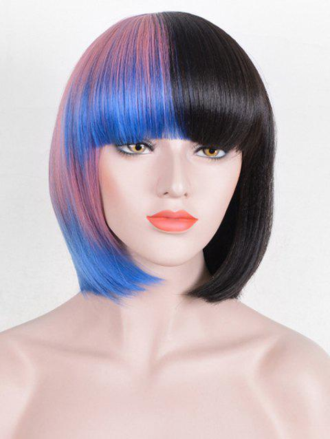 Short Full Bang Colorful Straight Bob Cosplay Synthetic Wig - multicolor