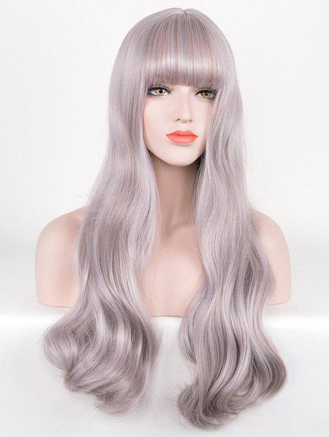 Long Neat Bang Wavy Cosplay Lolita Synthetic Wig - WISTERIA PURPLE