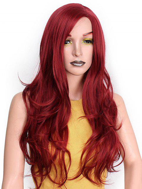 Long Side Parting Wavy Capless Party Synthetic Wig - RED WINE