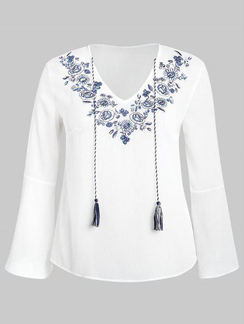 Plus Size Floral Patch Flared Sleeve Blouse - WHITE 2X
