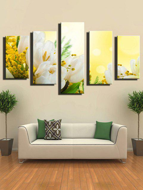Flower Print Unframed Split Canvas Paintings - multicolor 1PC X 8 X 22,2PCS X 8 X 14,2PCS X 8 X 18INCH( NO F