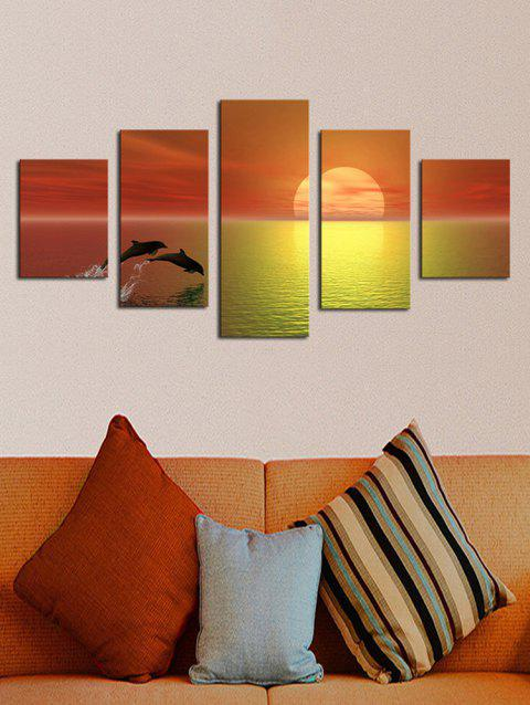 Sunset Sea Dolphin Print Unframed Split Canvas Paintings - multicolor 1PC X 8 X 22,2PCS X 8 X 14,2PCS X 8 X 18INCH( NO F