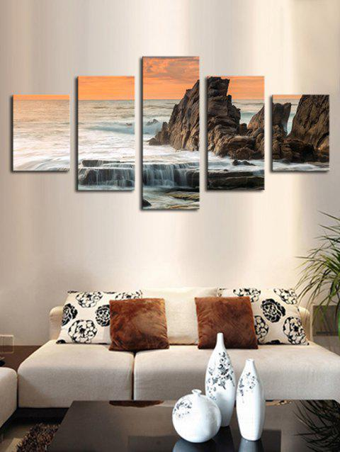 Seaside Stone Print Unframed Split Canvas Paintings - multicolor 1PC X 8 X 20,2PCS X 8 X 12,2PCS X 8 X 16 INCH( NO