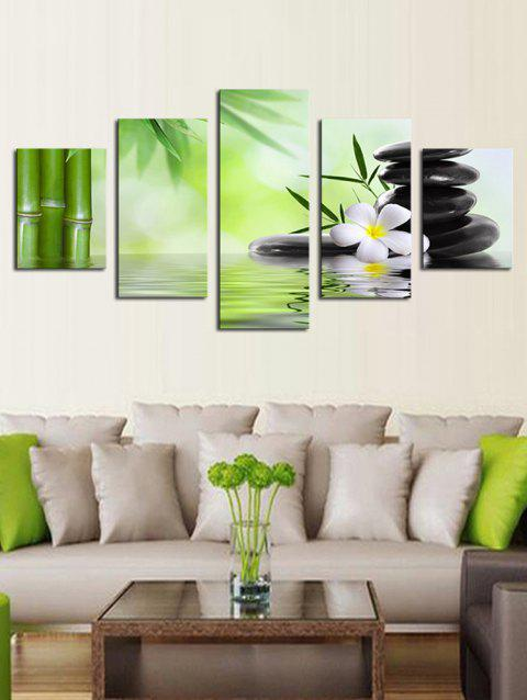 Stone and Pool Print Unframed Split Canvas Paintings - multicolor 1PC X 8 X 20,2PCS X 8 X 12,2PCS X 8 X 16 INCH( NO