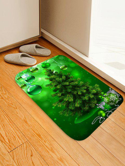 Christmas Tree Balls Pattern Anti-skid Flannel Area Rug - MEDIUM FOREST GREEN W20 X L31.5 INCH