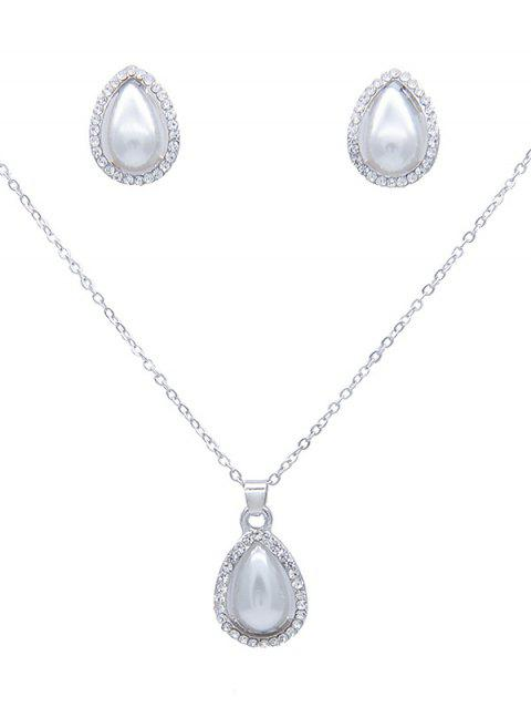 Rhinestone Teardrop Artificial Pearl Necklace Earrings Set Silver